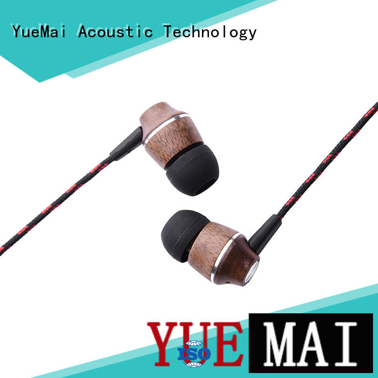 universal woodbud earphones with inline microphone for sale YueMai Acoustic Technology