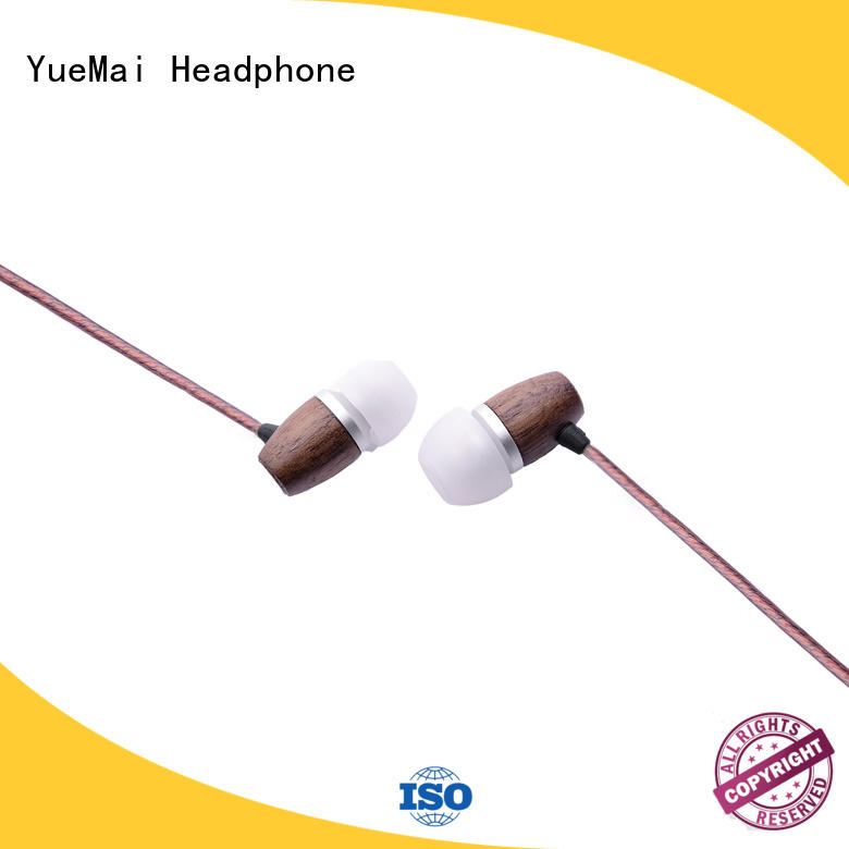 computer wired black wooden earbuds free YueMai Acoustic Technology Brand