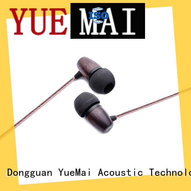 professional wood stereo earbuds with mic for sale YueMai Acoustic Technology