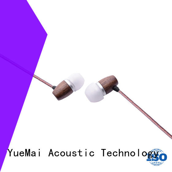YueMai Acoustic Technology natural wooden earphone with mic for mobile and computer
