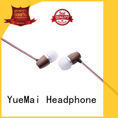 universal headphones made of wood with mic for mobile and computer YueMai Acoustic Technology