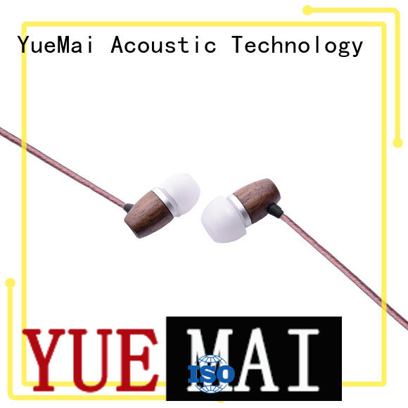 wooden headphone stereo form wooden earbuds logo YueMai Acoustic Technology Brand