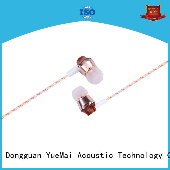 YueMai Acoustic Technology logo print best wooden earphones professional for sale