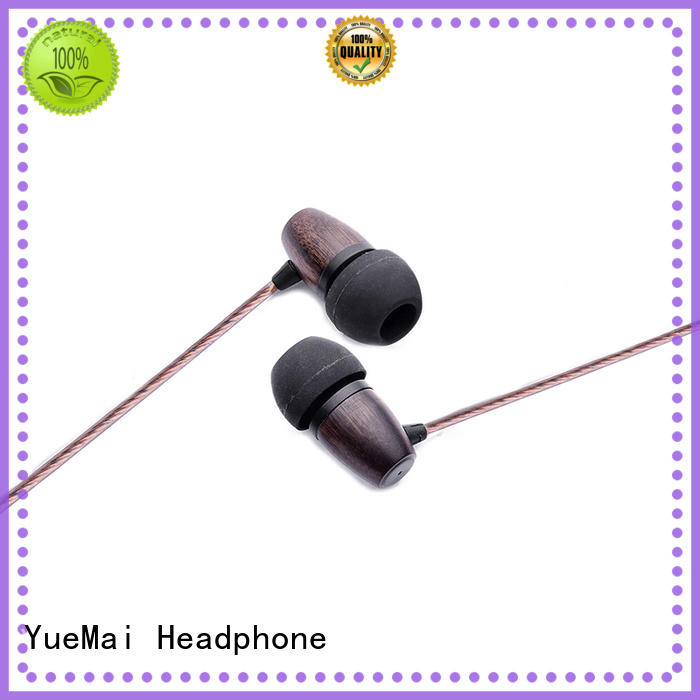 YueMai Acoustic Technology logo print symphonized wood earbuds supplier for sale