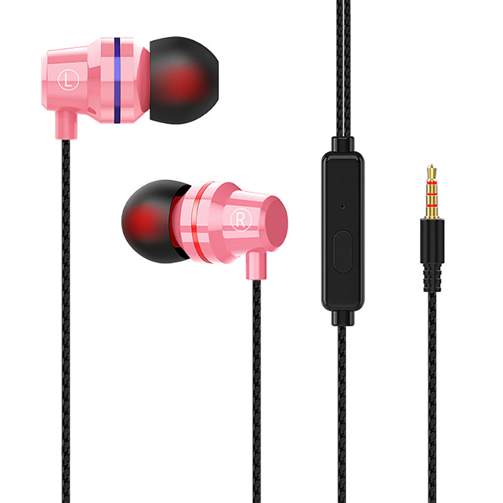 wired in ear earbuds with microphone metallic earbuds