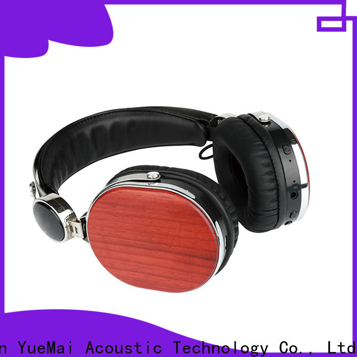 YueMai Acoustic Technology cherry wood headphones with logo for kids and adults